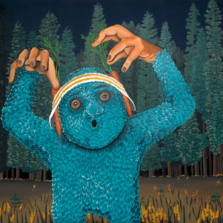 Kana Mick Der Harzer painting  blaues Fellwesen mit Stirnband und Karotten