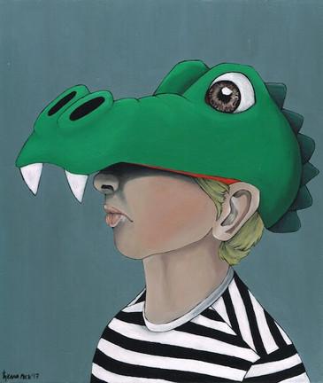 Kana Mick Mr.Croc junge mit Krokodil Fahrradhelm painting art bremen
