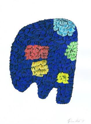 Kana Mick Design Form Skulptur Blau-bunt