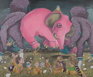 Kana Mick Du musst den Fuchs in den Hinterkopf beißen painting rosa Elefant
