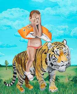 Kana Mick painting art Mädchen reitet auf tiger