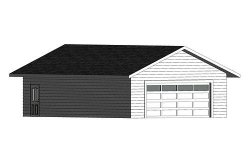 864 Square Foot 24x36 Garage Plans Exterior 3D