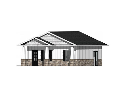 625 Square Foot ADU, In Law Unit, Tiny House Plan With Front Porch Exterior 3D