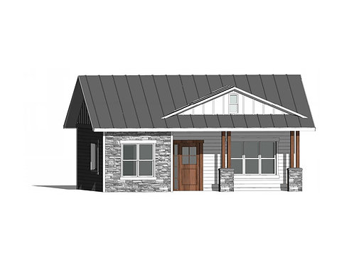 714 Square Foot, Craftsmen Style, ADU, Tiny Home, In Law Unit, House Exterior 3D