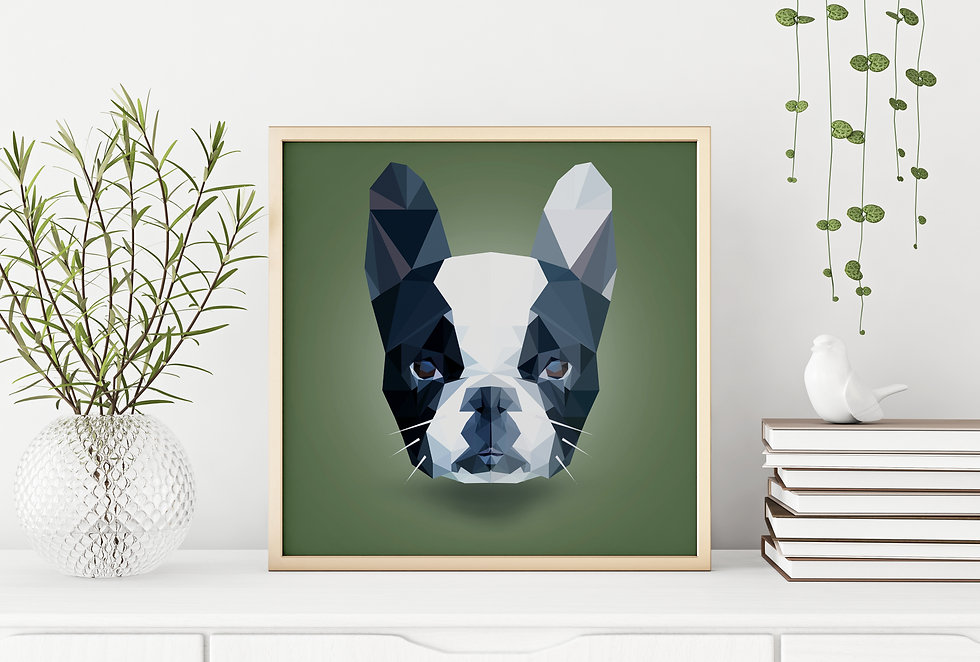 poly art french bulldog photo frame