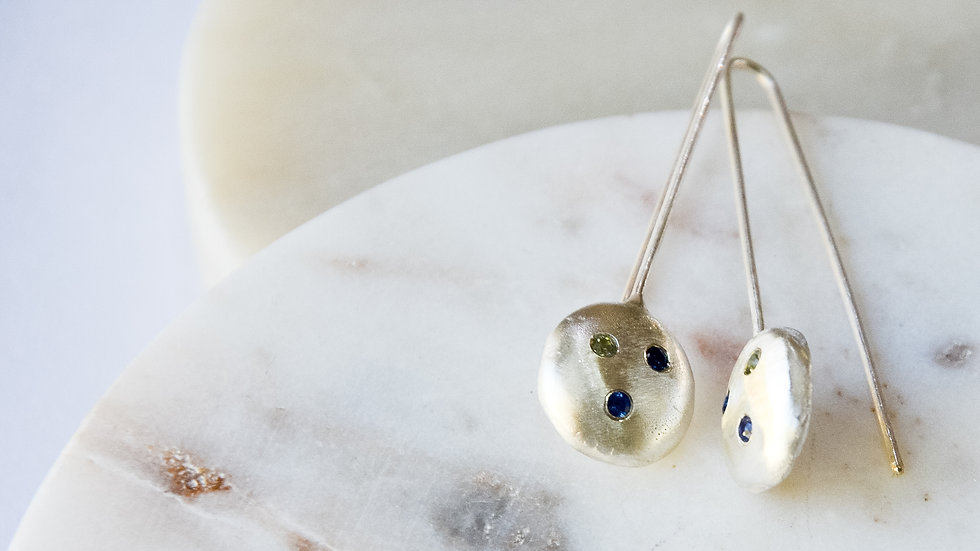 Peridot, blue sapphire and ameythst earrings