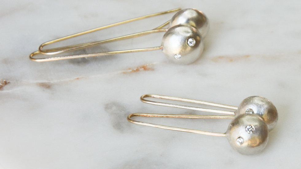 Diamond Pebble earrings - longer
