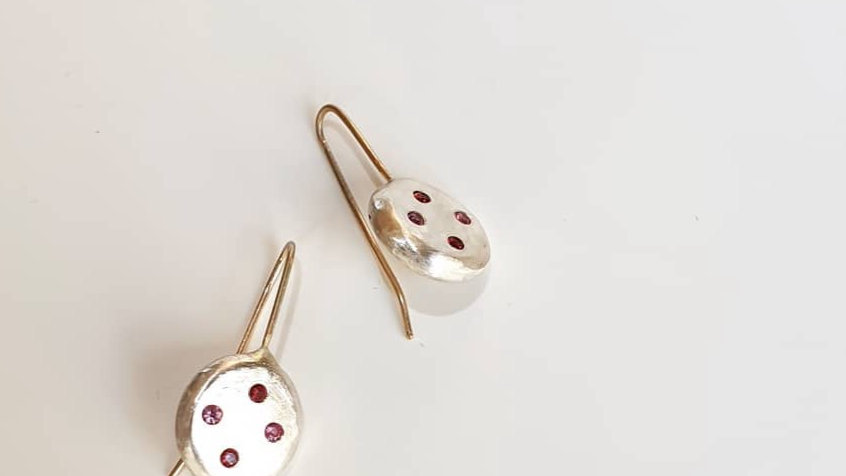 Palladium Silver Pebble Earrings with Rubies and Spinels
