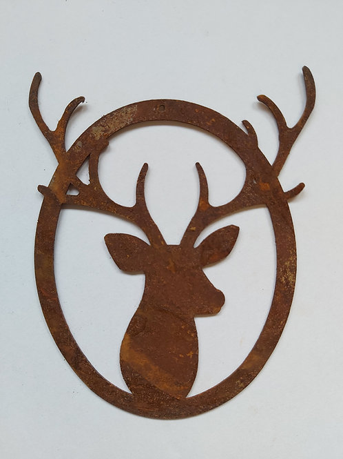Edelrost Hirsch Portrait zum Aufhängen Metall
