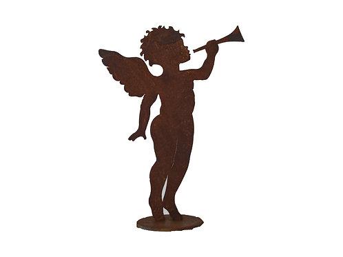 Edelrost Engel mit Trompete stehend