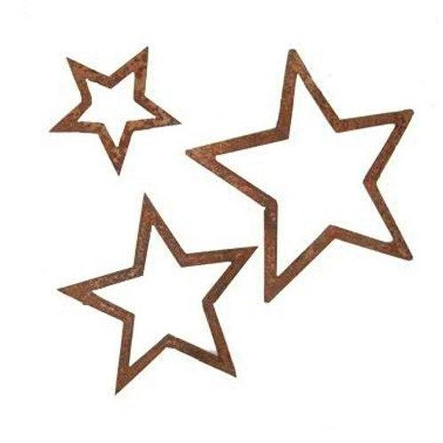 Edelrost Sterne zum Aufhängen 22cm