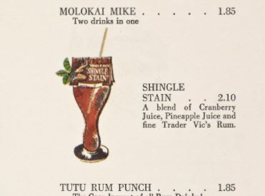 Cocktail printed from an original Trader Vic Menu