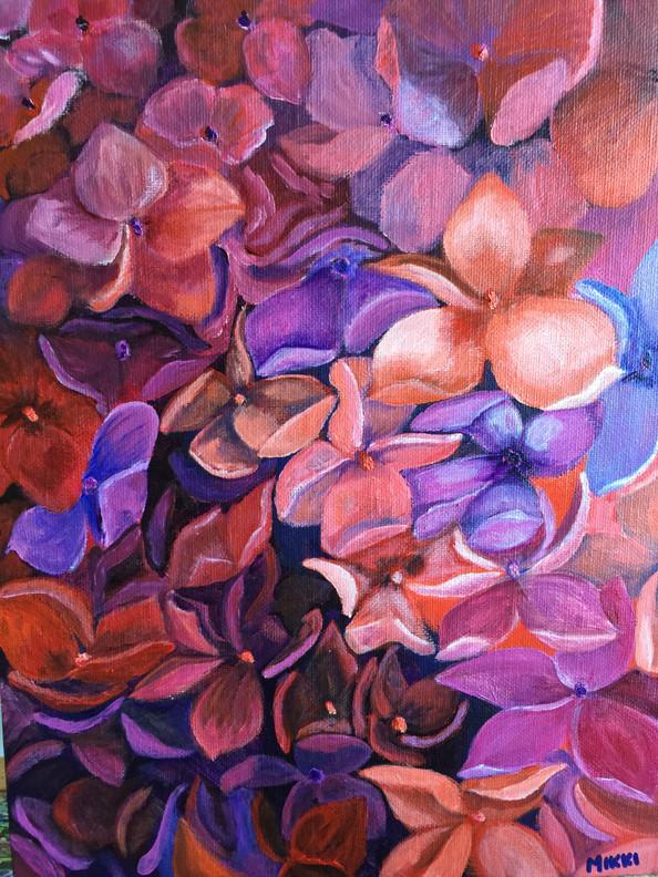 "Hydrangea, acrylic (9"" x 12"")"