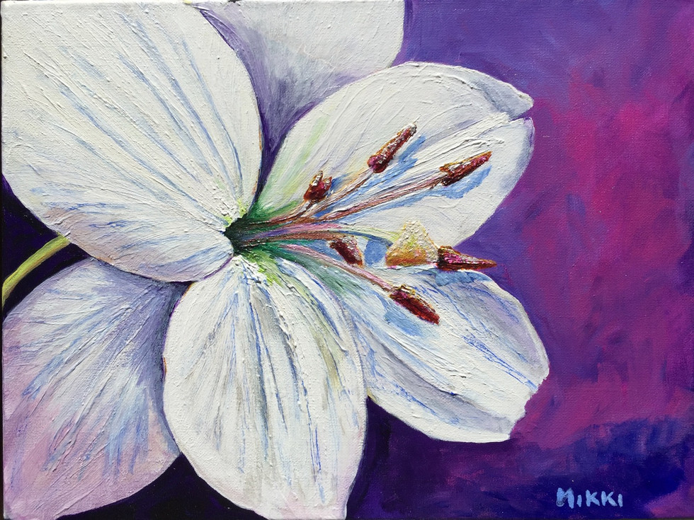 "White Asiatic Lily, acrylic 11"" x 14"""