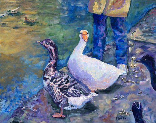 "McKinley Park Geese, acrylic (16"" x 20"")"