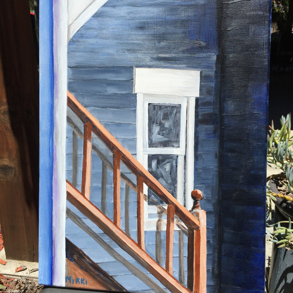 """Stairs and a Window, acrylic (9"""" x 12"""")"""