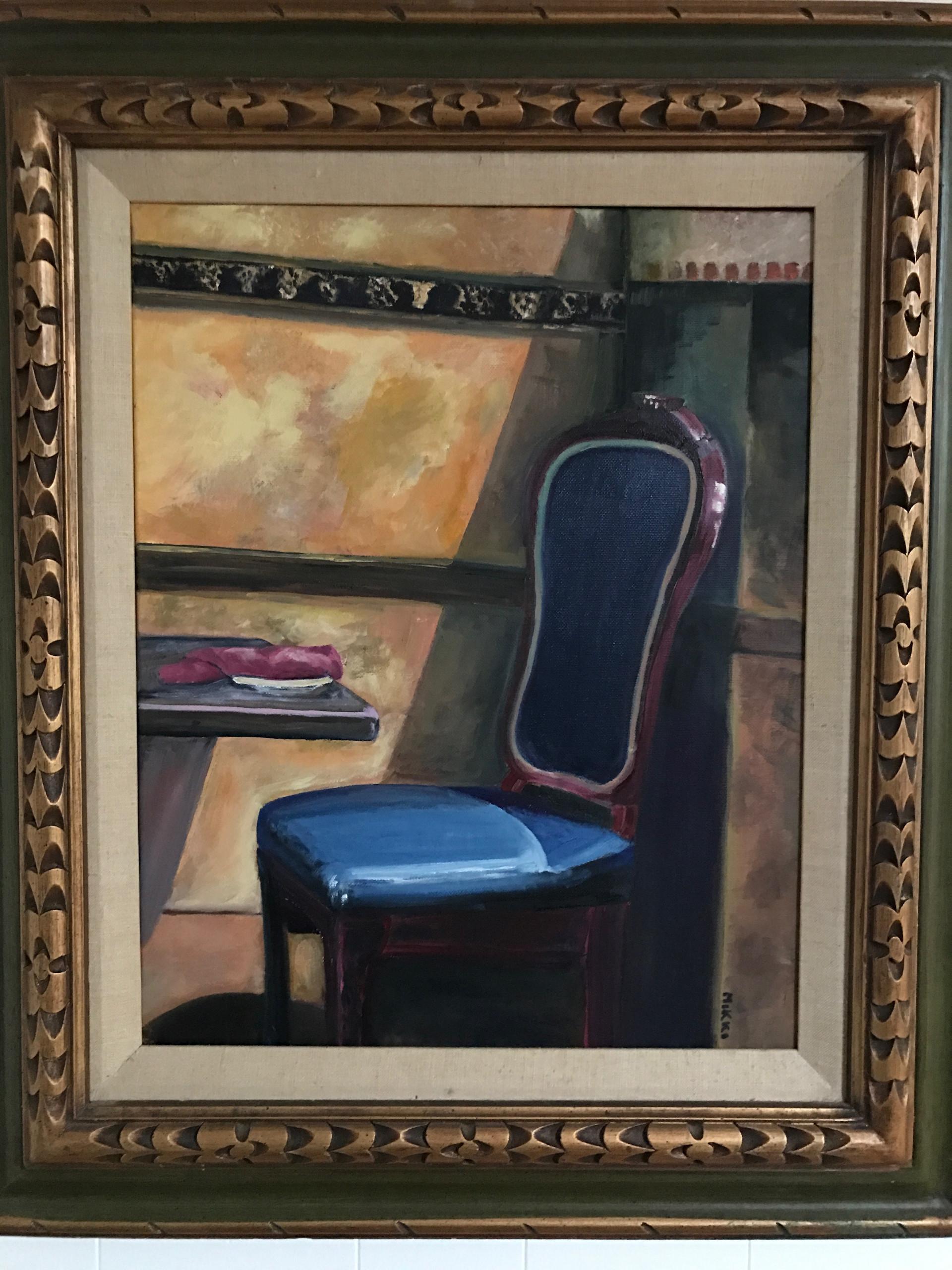 """The Blue Chair, oil (16"""" x 20"""")"""