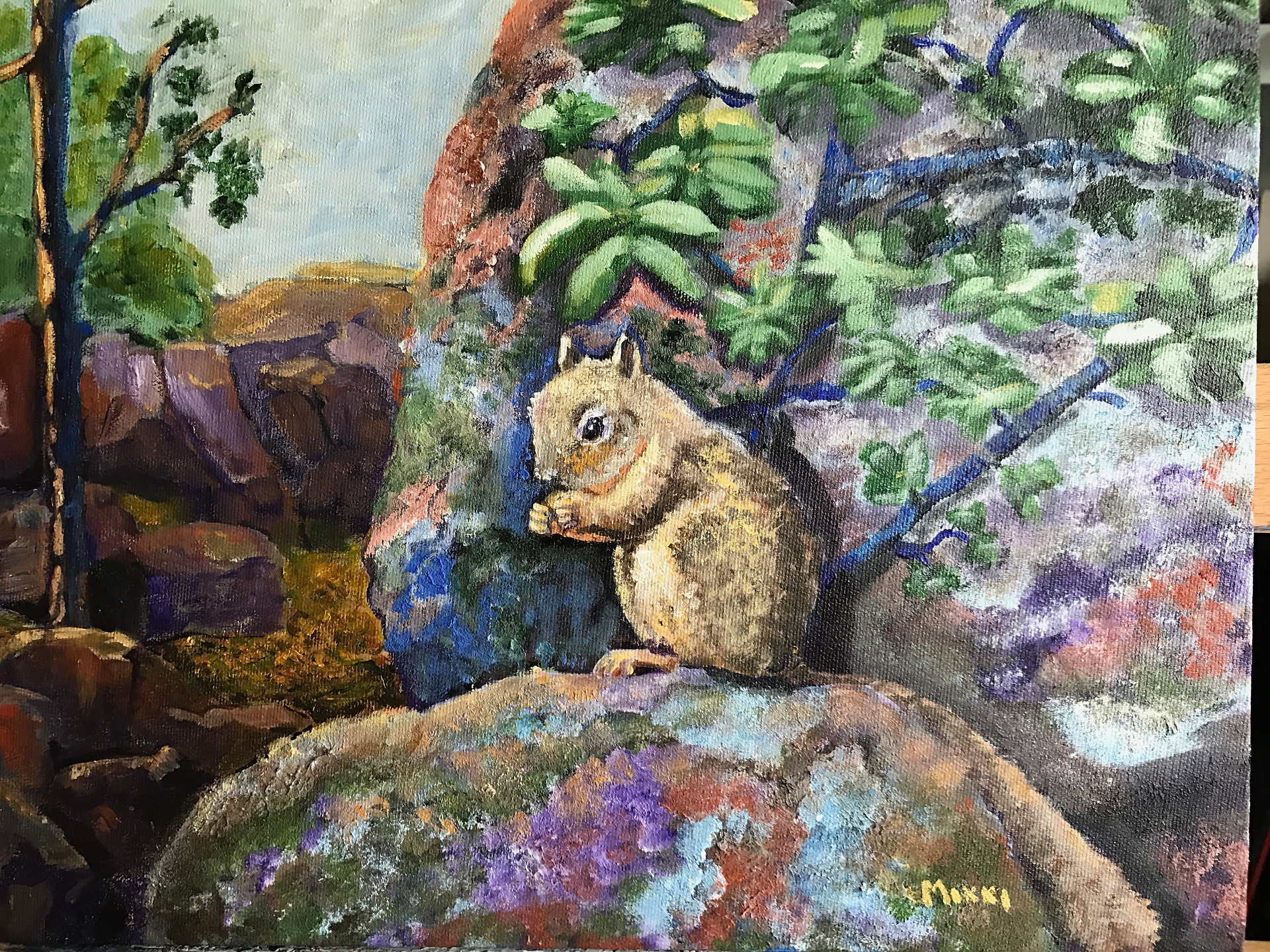 "Squirrel in the Foothills, acrylic (9"" x 12"")"