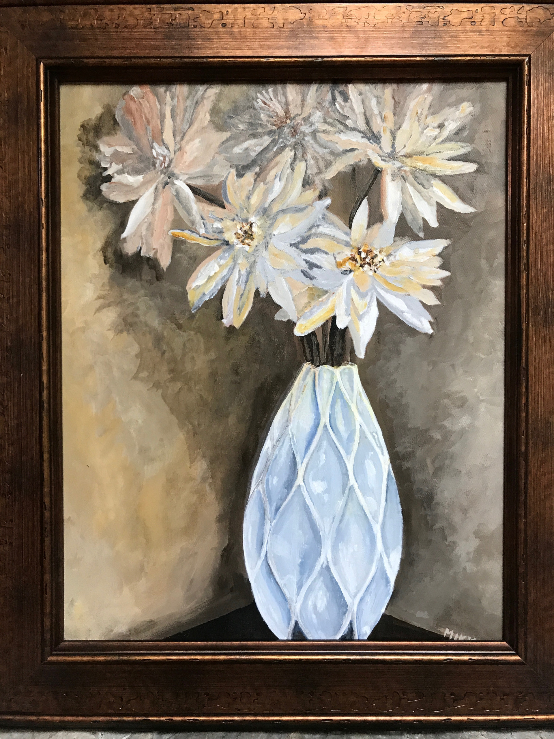 "The White Vase, acrylic (16"" x 20"")"