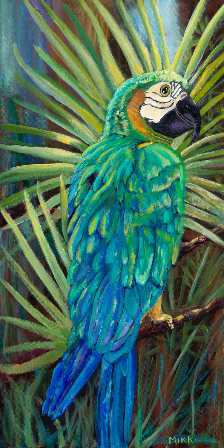 "Blue and Gold Macaw, acrylic (24"" x 30"")"