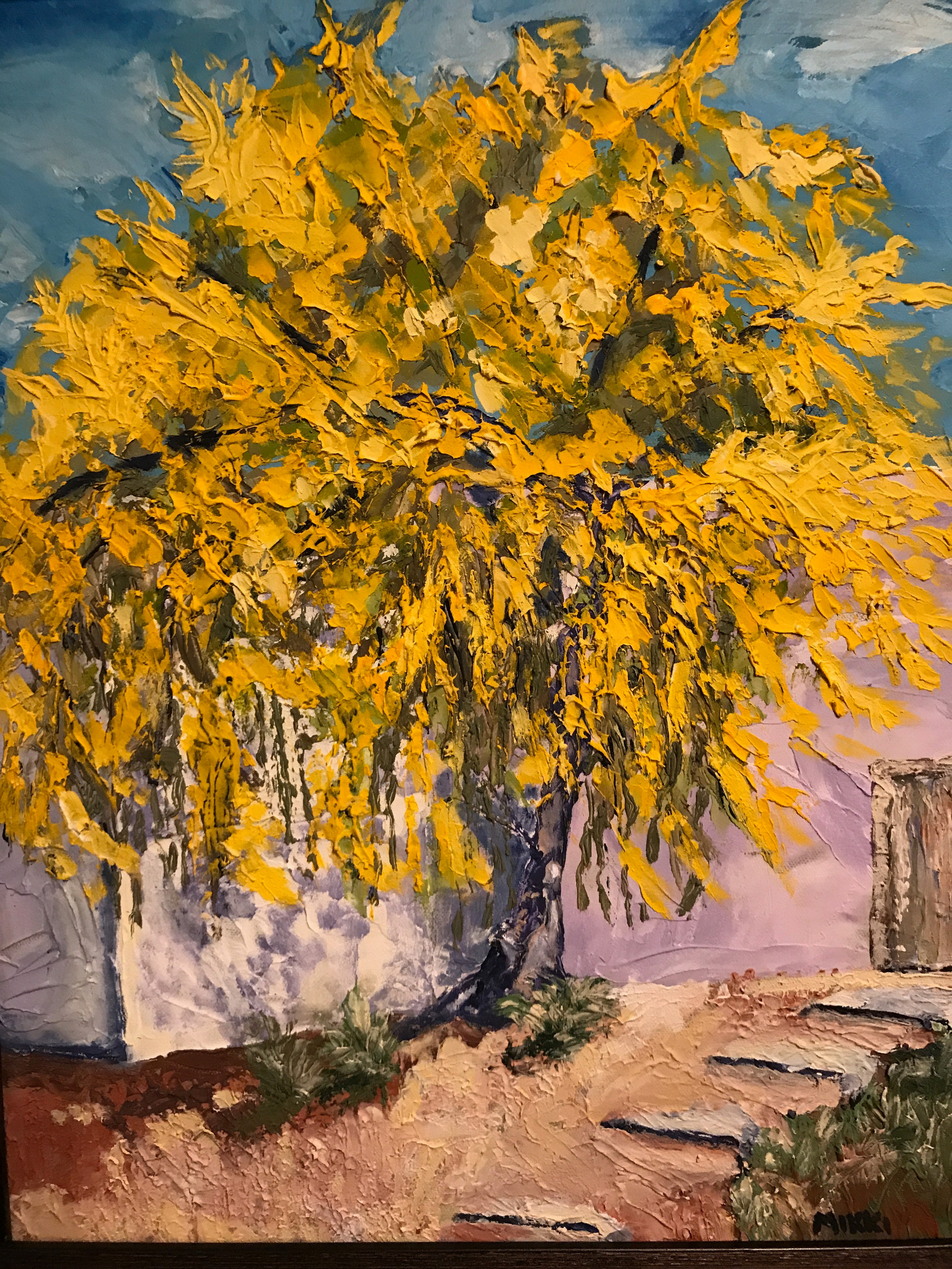 "The Yellow Tree (palo verde), acrylic (16"" x 20"")"