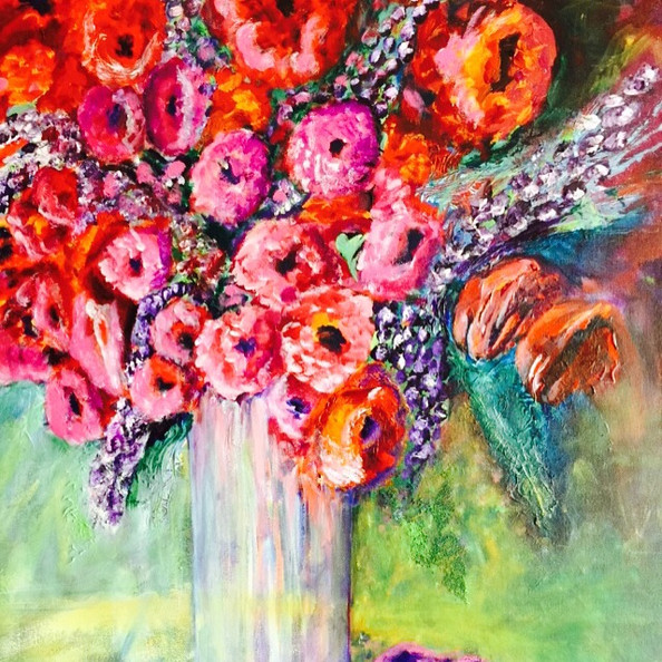 """The Bright Bouquet, acrylic (24"""" x 28"""")"""