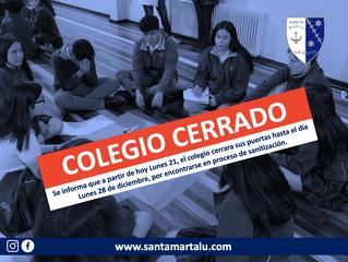 Colegio Cerrado hasta el Lunes 28 de Diciembre