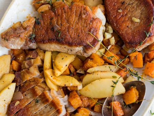 Pork Rib Chops with Roasted Squash
