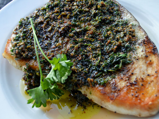 Pan Seared Swordfish with Compound Pepper Butter