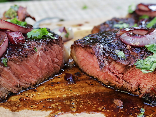 Grilled Ribeye Steak with Cabernet Sauce