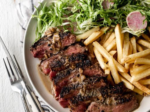 Strip Steak Brandy Sauce