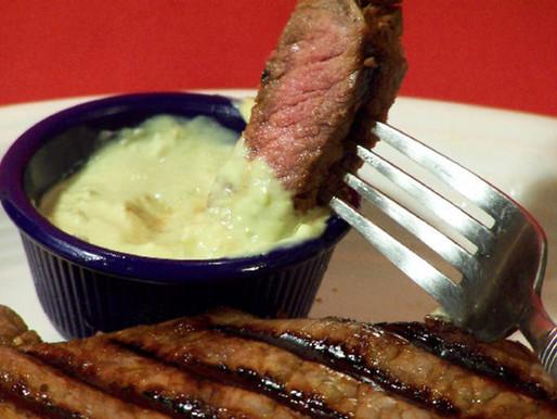 Strip Steak with Horseradish Guacamole
