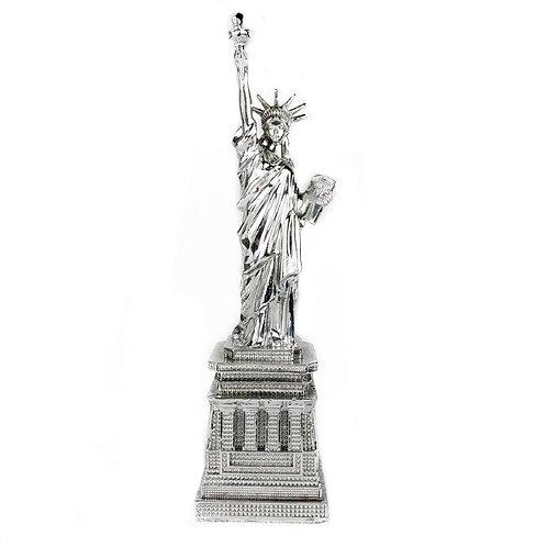 Enfeite De Resina Estátua Da Liberdade Prateada