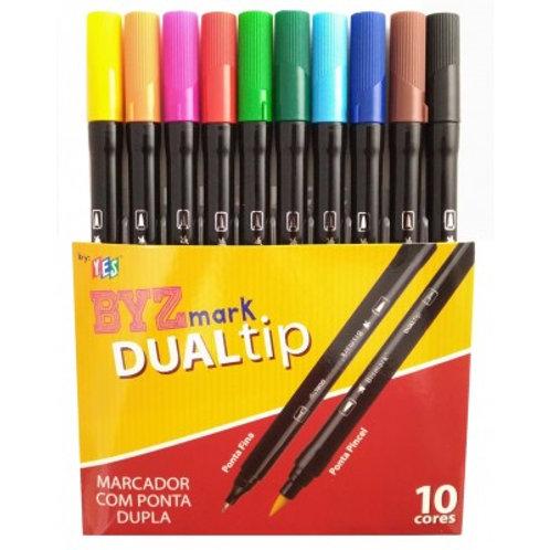 Kit Brush Pen Byzmark Dual Tip Com 10 Cores