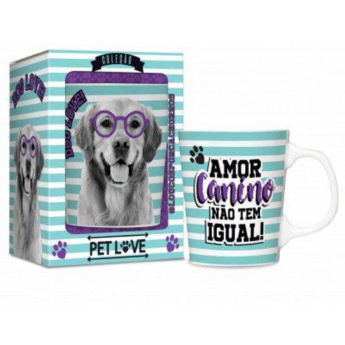Caneca Porcelana 280ml Golden Dog Love!
