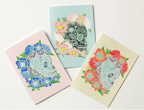FLOWERY SKULL / Greeting Cards Set of 3