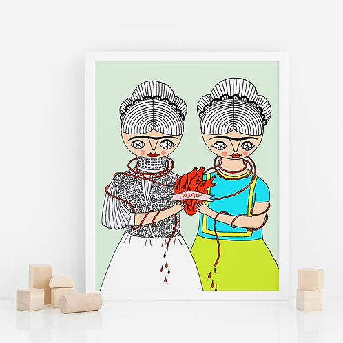 PRINT / Two Fridas one heart