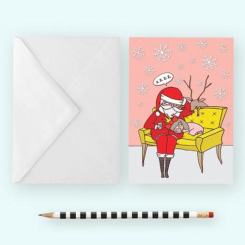 SLEEPY SANTA / Greeting Card