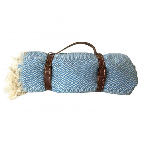 Picknickdecke mit Lederriemen in blau/creme