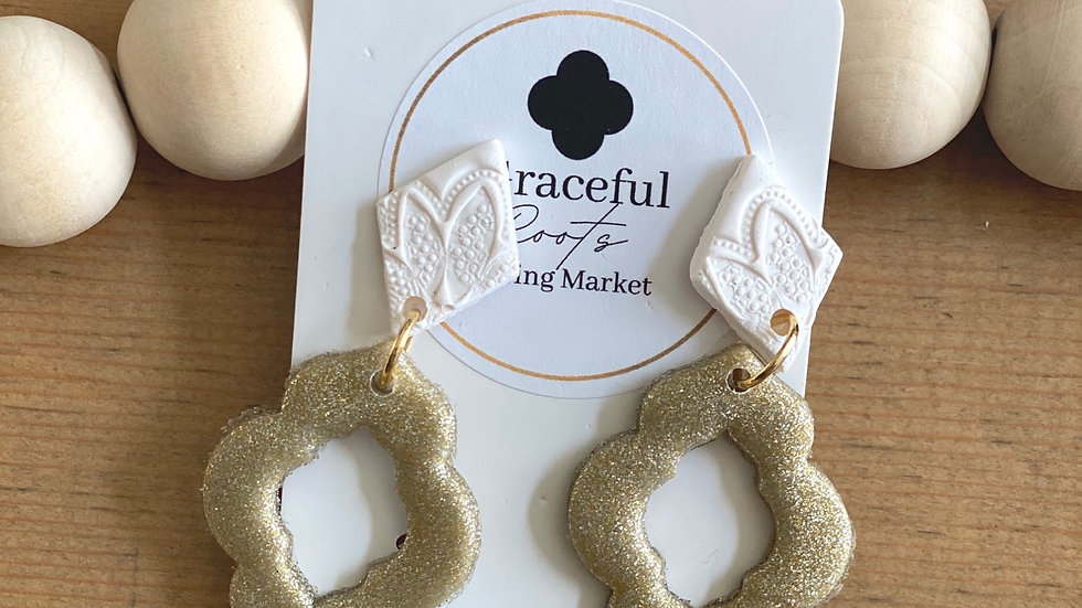 Poly-clay (gold & white )drop earrings