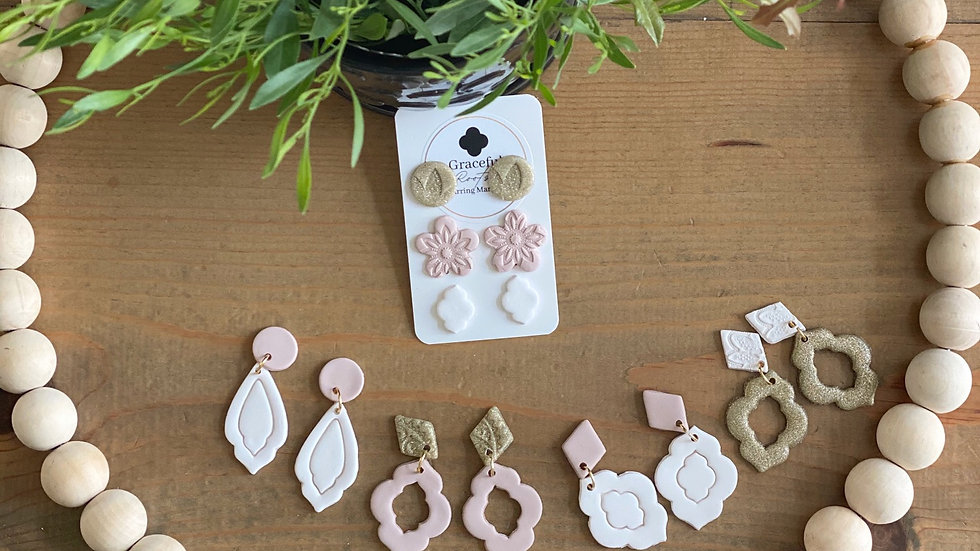 Poly-clay (pretty blush & gold) earrings