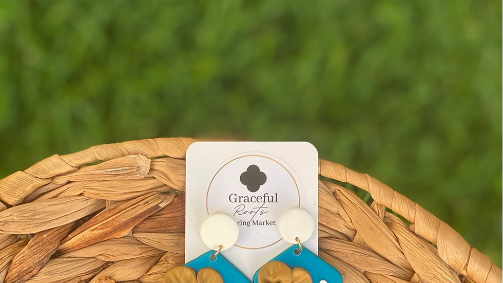 Poly-clay (peacock colored) floral earrings