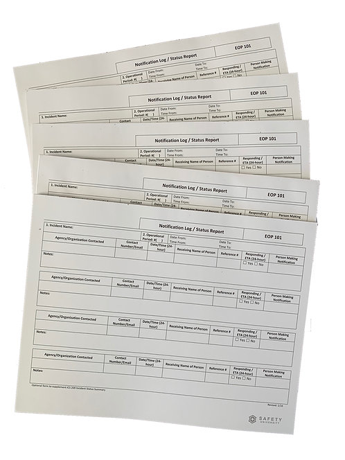 Incident Command System Notification Log Notepad
