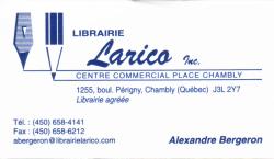 Librairie Larico,Chambly