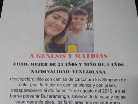 Desaparecen madre venezolana y su hijo en Bucaramanga