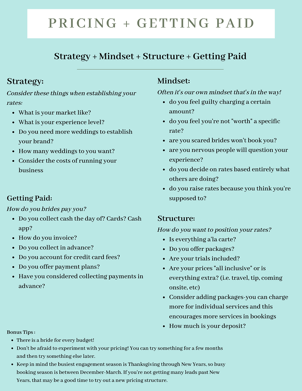 pricing tips and strategies