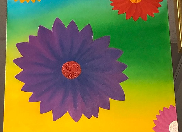 Psychedelic Flowers Oil Painting