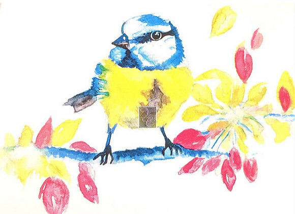 4 Pack of Bird or Flower Watercolor Cards