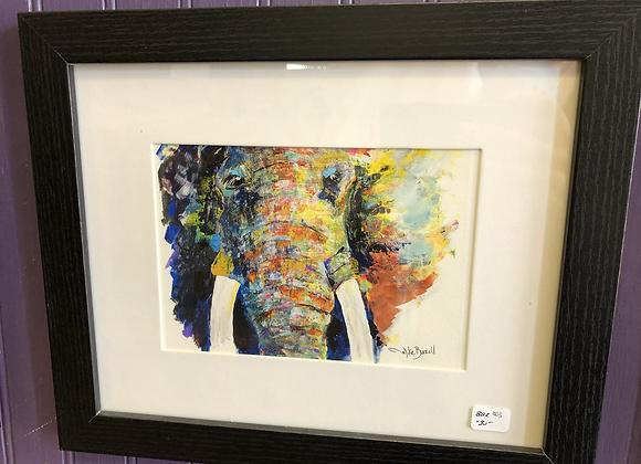 Framed Elephant Painting