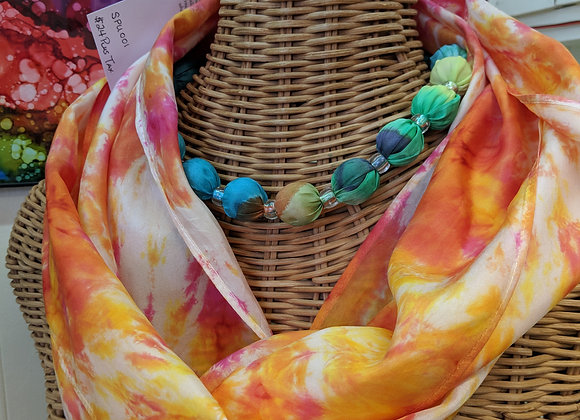 Silk Scarf - Pink/Orange Hoop Style